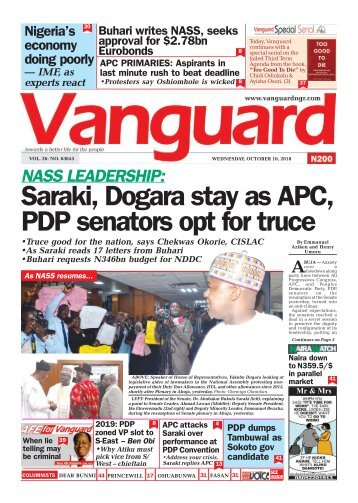10102018 - NASS LEADERSHIP: Saraki, Dogara stay as APC, PDP senators opt for truce