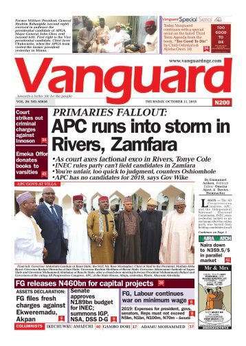 11102018 -PRIMARIES FALLOUT:APC runs into storm in Rivers, Zamfara