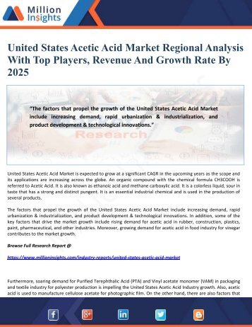 United States Acetic Acid Market Regional Analysis With Top Players, Revenue And Growth Rate By 2025