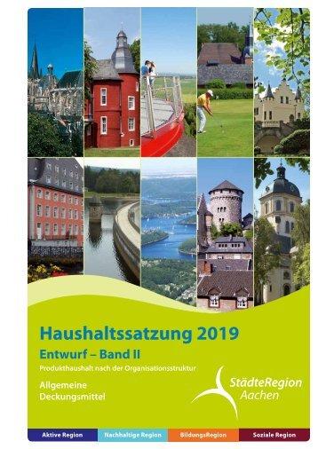 Haushalt 2019 - Allgemeine Deckungsmittel (Entwurf)