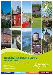 Haushalt 2019 nach der Organisationsstruktur (Entwurf) Dezernat V