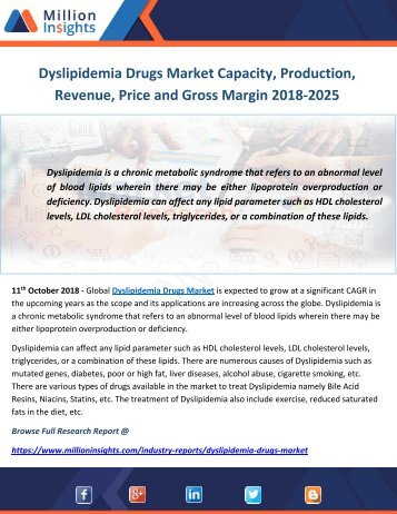 Dyslipidemia Drugs Market Capacity, Production, Revenue, Price and Gross Margin 2018-2025