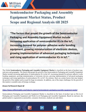 Semiconductor Packaging and Assembly Equipment Market Status, Product Scope and Regional Analysis till 2025