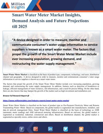 Smart Water Meter Market Insights, Demand Analysis and Future Projections till 2025