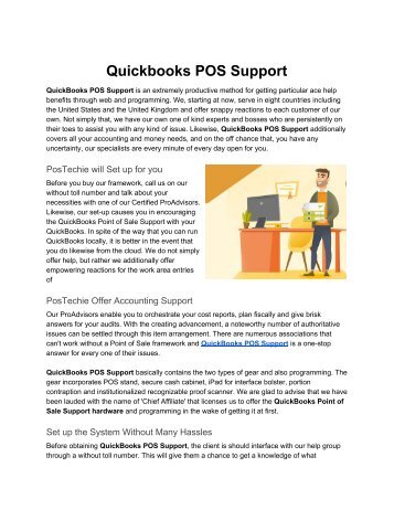 Quісkbооkѕ POS Support - Point of Sale Support by PosTechie