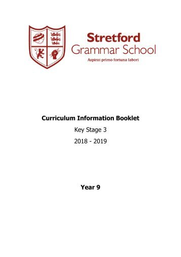 Year 9 Curriculum Information Booklet 2018-2019