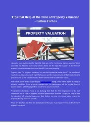 Tips that Help At the Time of Property Valuation – Callum Forbes