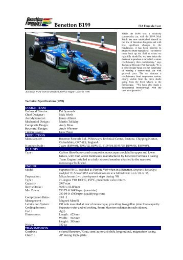 99 Benetton B199 Launch on Saturday - Motorsports Almanac