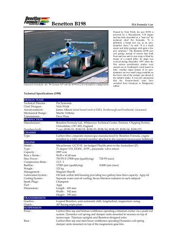 Benetton B198 - Motorsports Almanac