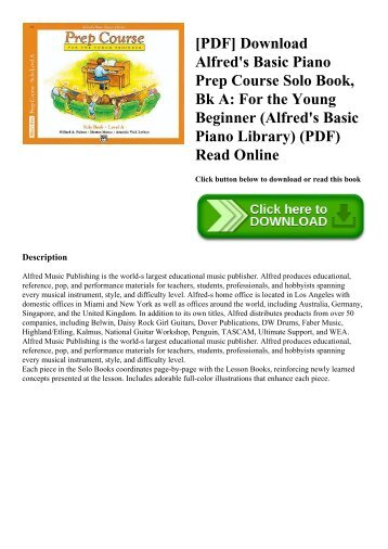 [PDF] Download Alfred's Basic Piano Prep Course Solo Book  Bk A For the Young Beginner (Alfred's Basic Piano Library) (PDF) Read Online