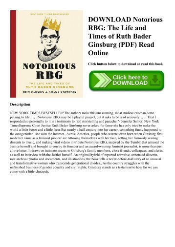 DOWNLOAD Notorious RBG The Life and Times of Ruth Bader Ginsburg (PDF) Read Online