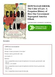 DOWNLOAD EBOOK The Color of Law A Forgotten History of How Our Government Segregated America EBook