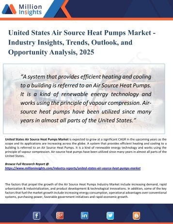 United States Air Source Heat Pumps Market Analysis, Share and Size, Trends, Industry Growth And Segment Forecasts To 2025