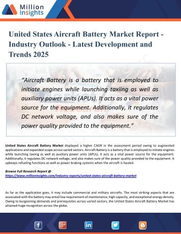 United States Aircraft Battery Market Segmented by Material, Type, Application, and Geography - Growth, Trends and Forecast 2025