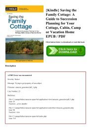 {Kindle} Saving the Family Cottage A Guide to Succession Planning for Your Cottage  Cabin  Camp or Vacation Home EPUB  PDF
