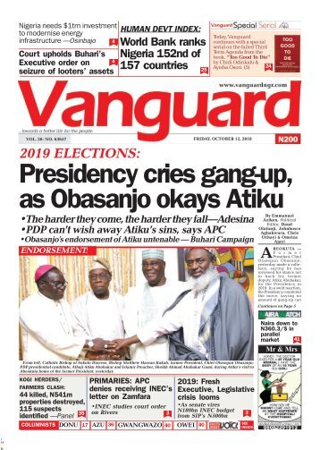 12102018 - 2018 ELECTIONS: Presidency cries gang up, as Obasanjo okays Akitu