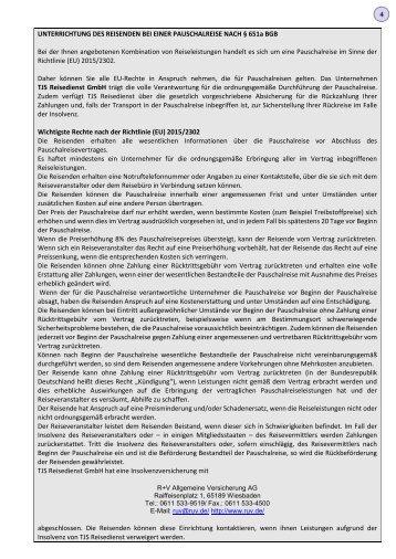 04 AGB. Formblatt zur Unterrichtung des Reisenden bei einer Pauschalreise