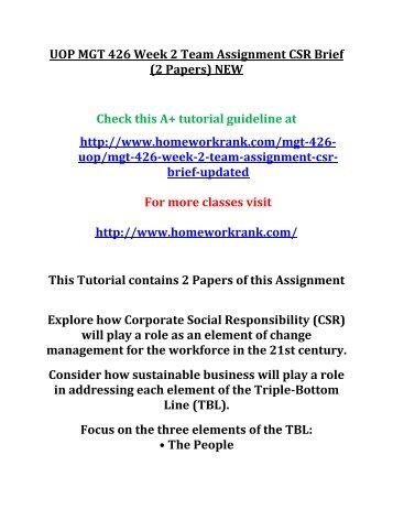 UOP MGT 426 Week 2 Team Assignment CSR Brief