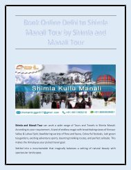 Book Online Delhi to Shimla Manali Tour by Shimla and Manali Tour