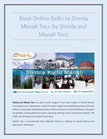 Book Online Delhi to Shimla Manali Tour by Shimla and Manali Tour