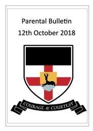Parental Bulletin - 12th October 2018
