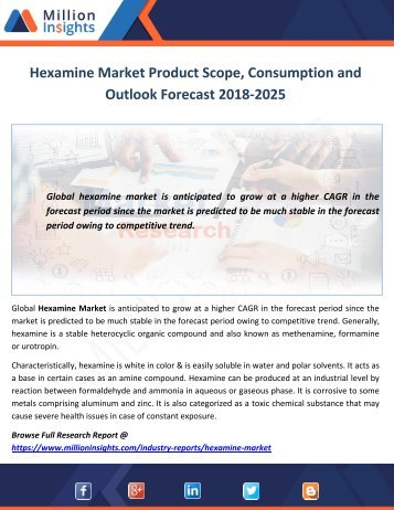 Hexamine Market Product Scope, Consumption and Outlook Forecast 2018-2025