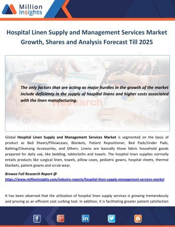 Hospital Linen Supply and Management Services Market Growth, Shares and Analysis Forecast Till 2025