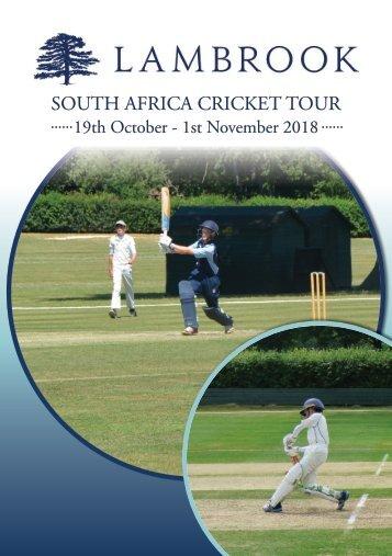 Lambrook Cricket Tour Brochure 2018