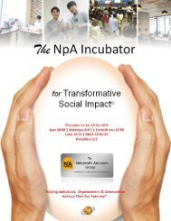 The NpA Incubator: Executive Summary & Start-Up Budget 2018