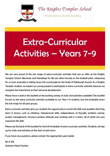 Extra-Curricular Booklet - KTS Autumn 2018