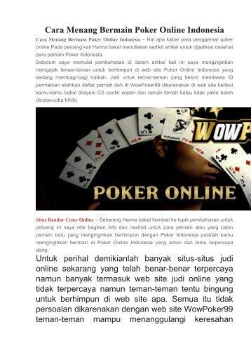 Cara Menang Bermain Poker Online Indonesia