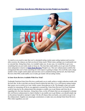 How Does Enter Keto Reviews Work?