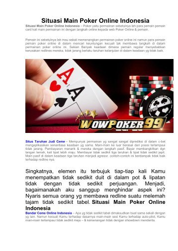 Situasi Main Poker Online Indonesia