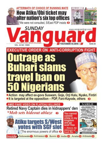 14102018- Outrage as Buhari slams travel ban on 50 Nigerians
