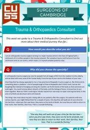 Surgeons of Cambridge #1 - Trauma and Orthopaedics Consultant