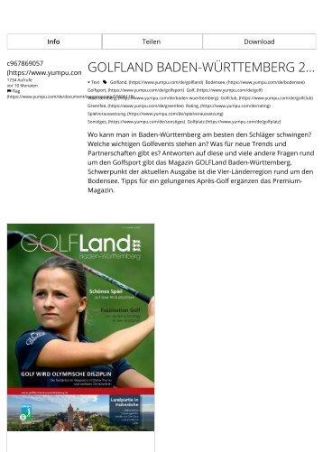 Golfland Baden-Württemberg 2018 - Schönes Spiel auf 90 Plätzen