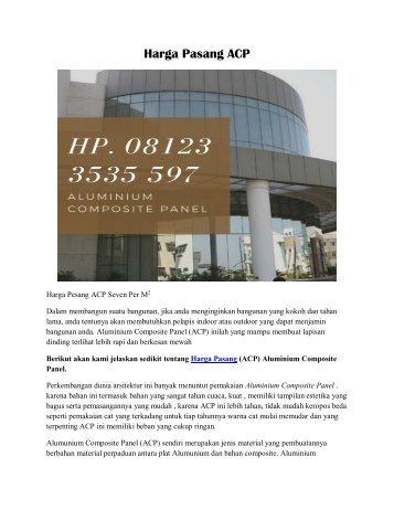 Harga Pasang ACP Hp. 08123 3535 597