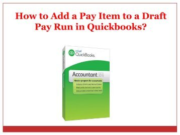 How to Add a Pay Item to a Draft Pay Run in Quickbooks?