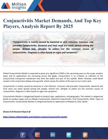 Conjunctivitis Market Demands, And Top Key Players, Analysis Report By 2025