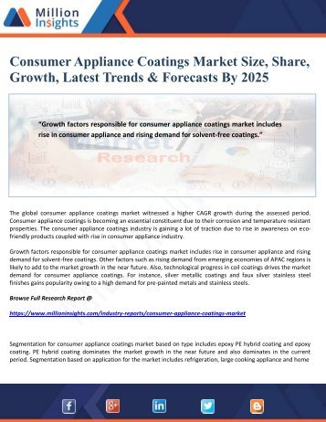 Consumer Appliance Coatings Market Size, Share, Growth, Latest Trends & Forecasts By 2025