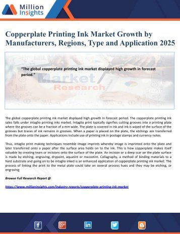 Copperplate Printing Ink Market Growth by Manufacturers, Regions, Type and Application 2025