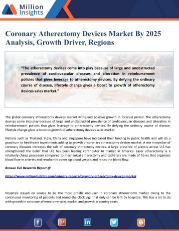 Coronary Atherectomy Devices Market By 2025 Analysis, Growth Driver, Regions