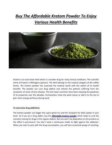 Buy The Affordable Kratom Powder To Enjoy Various Health Benefits