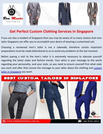 Ready to Get Best Custom Clothing Services at Ron Master Tailors