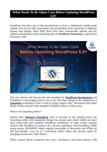 What Needs To Be Taken Care Before Updating WordPress 5