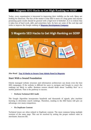 5 Magento SEO Hacks to Get High Ranking on SERP