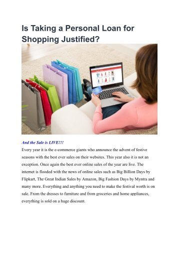 Is Taking a Personal Loan for Shopping Justified