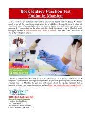 Book Kidney Function Test Online in Mumbai