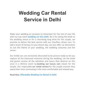 Wedding Car Rental Service in Delhi - Delhi Rent a Car