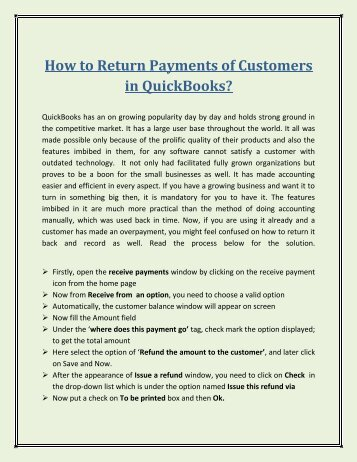 How to Return Payments of Customers in QuickBooks?